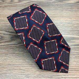 Charvet Navy w/ Red & White Pattern Tie